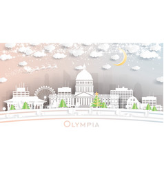 olympia washington city skyline in paper cut vector image