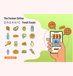 order fresh organic foods online from app by vector image