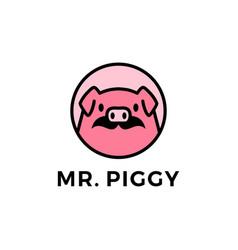 Pig moustache head round emblem logo icon vector