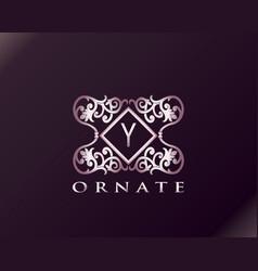 Pink luxury brand letter y elegant logo badge vector