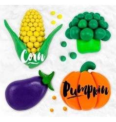 Plasticine vegetables pumpkin vector