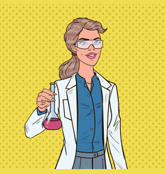 pop art woman scientist with flask chemistry vector image