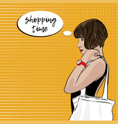 Pop art woman with ecobag shopping time vector