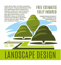 poster for landscape design company vector image