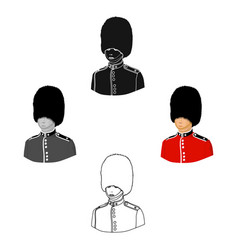queen s guard icon in cartoonblack style isolated vector image