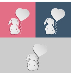 Rabbit child with heart balloon vector image