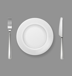 realistic plate knife fork silver cutlery white vector image
