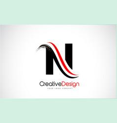 Red and black n letter design brush paint stroke vector