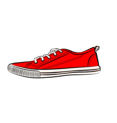 Red sneakers icon flat of sneakers vector