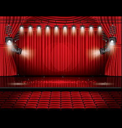 Red stage curtain with spotlights seats and copy vector