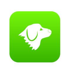 retriever dog icon digital green vector image