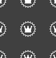rown icon sign Seamless pattern on a gray vector image