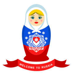 Russian nesting doll with ornamental heart element vector