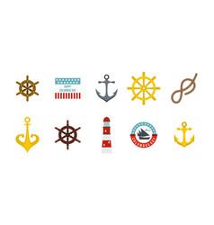 sea element icon set flat style vector image