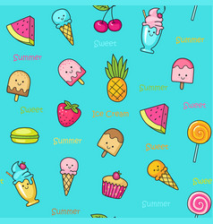 seamless doodle pattern with fun sweets vector image