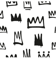 Seamless pattern of sprayed crowns with overspray vector