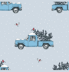 seamless pattern with hand drawn christmas trucks vector image