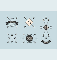 set emblem label and design elements vector image