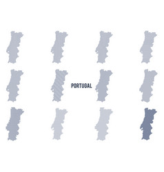 set of abstract maps of portugal in vector image