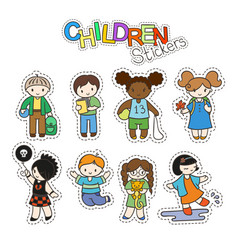 set of cute doodle children in stickers vector image vector image