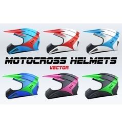 Set of Original Motorcycle Helmets vector image