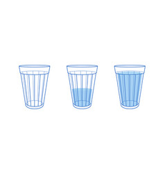 set three blue glass water vector image