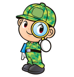 soldier character and magnifying glass isolated vector image