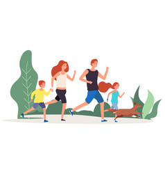 sport family parents kids run around in park vector image