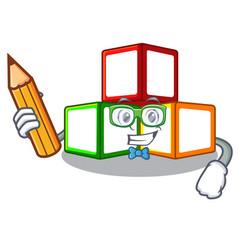 Student toy blocks cube blank cartoon wooden vector