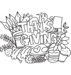 Thanksgiving doodle art hand draw vector