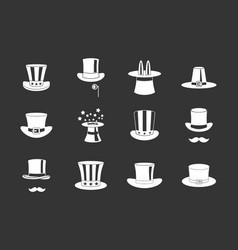 top hat icon set grey vector image
