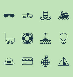 Tourism icons set with sunglasses swimming pool vector