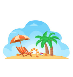 Tropical beach summer background with chair vector