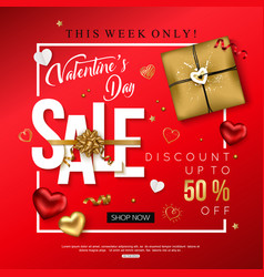 Valentines day sale banner decorated hearts gift vector