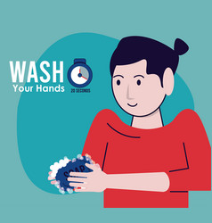 Wash your hands campaign poster with woman vector