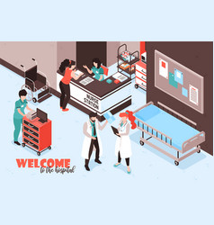 welcome hospital isometric background vector image
