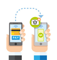 wireless payment transfer using smart phones vector image