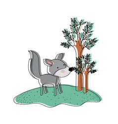 wolf cartoon in forest next to the trees in vector image