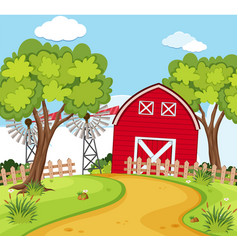 farm scene with small barn and turbines vector image
