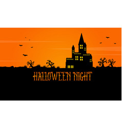 Halloween scary landscape with castle vector