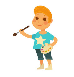 little boy with palette and brush isolated vector image vector image