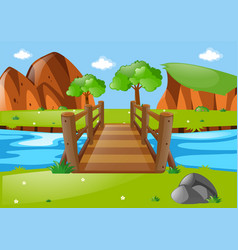 scene with wooden bridge in park vector image