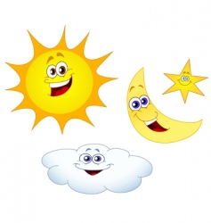 sun moon star and cloud vector image vector image