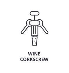 wine corkscrew line icon outline sign linear vector image vector image