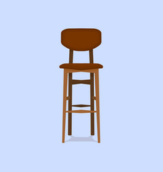 wooden bar chair on blue background detailed vector image