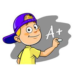 boy writing grade vector image