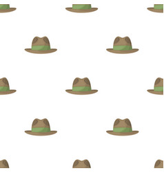 Brown hat with a brim headdress investigator for vector