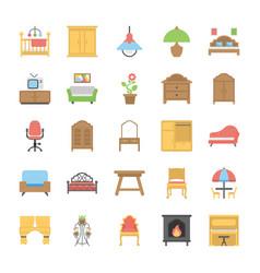 Furniture flat icons set vector