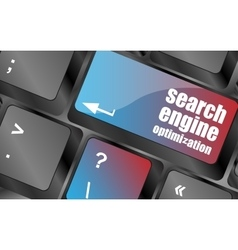 Modern keyboard with SEO text SEO concept vector image