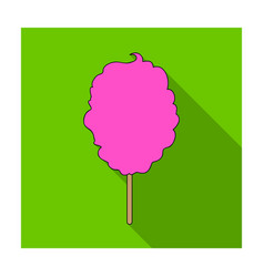 pink sweet cotton wool on a stick dessert for vector image vector image